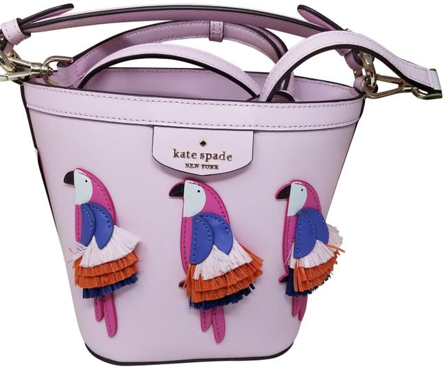 Item - Bucket Bag Flock Party Parrot Pippa Small Purple Pink Leather Satchel