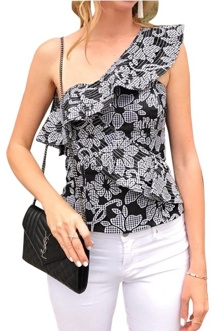 Item - Embroidered Gingham Print Black & White Top