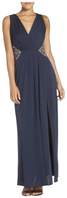 Item - Navy Hasani Embroidered Plunge Slit Gown Long Cocktail Dress Size 2 (XS)