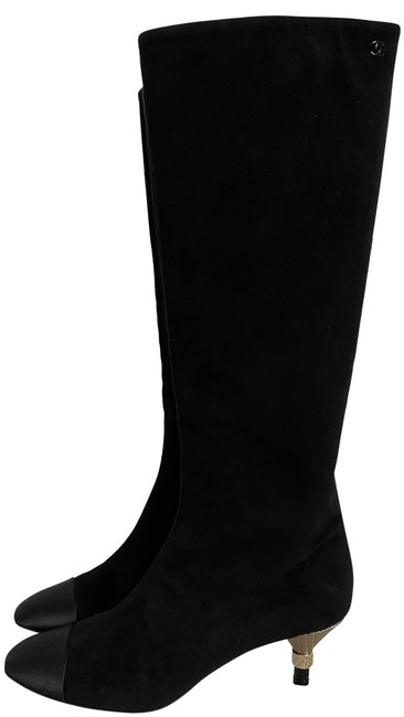 Item - Black Suede Gold Logo Letter Heel Satin Cap Toe Knee Boots/Booties Size EU 37.5 (Approx. US 7.5) Regular (M, B)