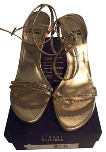 Stuart Weitzman Jeweled Studded Strappy Stiletto Evening Wedding Leather Heel Gold Sandals