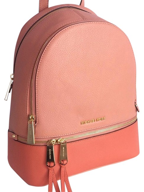 Item - Rhea Zip Medium School Travel (New with Tags) Peach Pink Grapefruit/Gold Leather Backpack