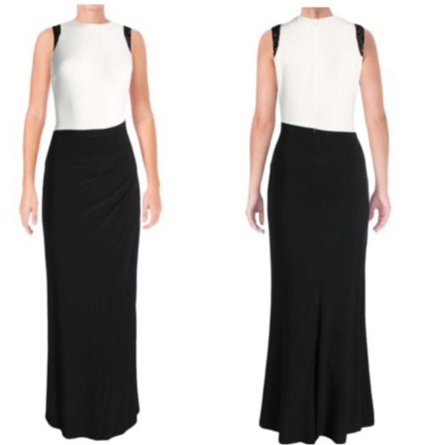 Item - Black & White Colorblock Embellished Fully Lining Long Formal Dress Size 12 (L)