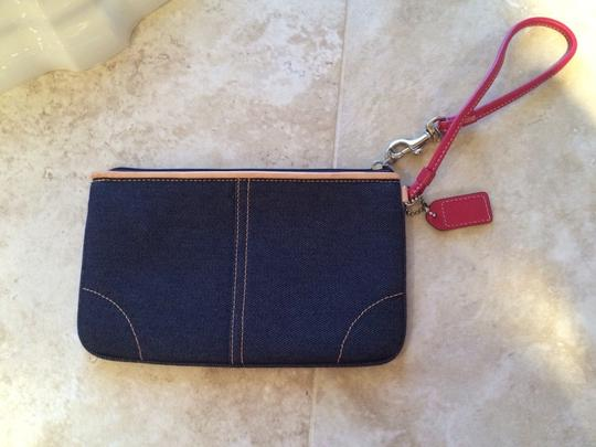 Coach Wristlet in Denim, Hot Pink and Camel Tan Leather Trim