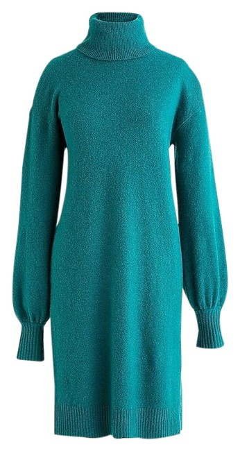 Item - Green Super Soft Turtleneck Wool Blend Sweater Mid-length Short Casual Dress Size 6 (S)
