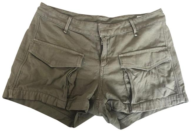 Item - Green Distressed And Denim Shorts Size 0 (XS, 25)