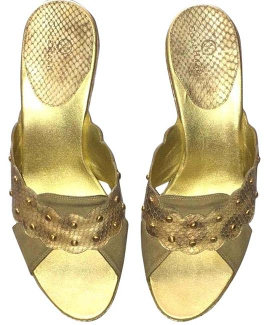 Item - Gold Taupe Snakeskin and Suede Studded Wedges Size US 10 Regular (M, B)