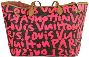 Item - Neverfull Graffiti Gm Stephen Sprouse Shoulder Monogram Neon Pink Tote