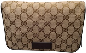 Gucci Monogram Leather Canvas Fanny Pack Cross Body Bag