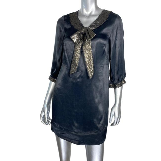 French Connection Black Satin Sequin Bow Cocktail Dress Size 4 (S) French Connection Black Satin Sequin Bow Cocktail Dress Size 4 (S) Image 1