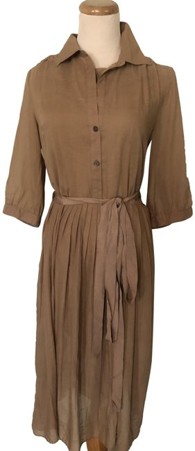 Item - Taupe Lined Shirt Sz: 0 Mid-length Work/Office Dress Size 0 (XS)