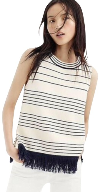 Item - White Blue H7151 Fringed Boatneck Shell In Stripe Xxs Tank Top/Cami Size 00 (XXS)