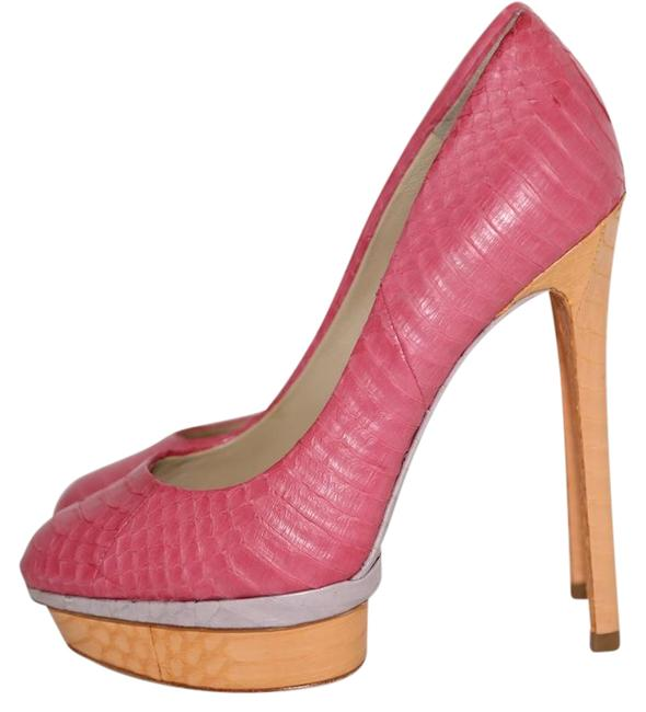 Item - Multicolor Snake Texture Round Toe Pumps Platforms Size US 6 Regular (M, B)