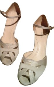 Via Spiga Ankle Strap Open Toe Side Cut-out Silk Sand Sandals