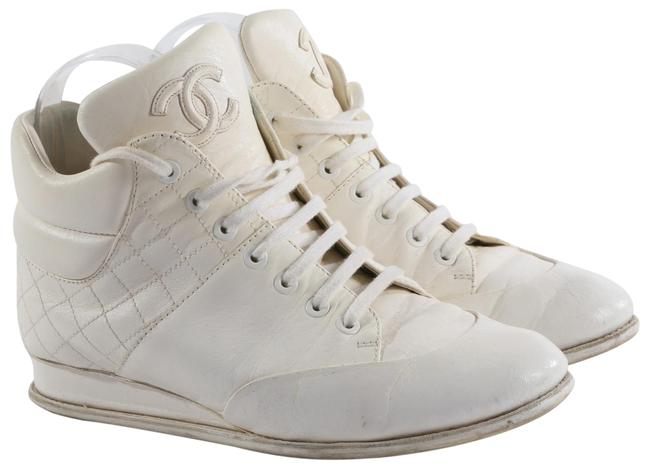 Item - White Cc Logo Leather High Top Lace Up Sneakers Size US 7 Regular (M, B)