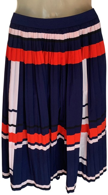 Item - Blue Pink Red Color Blocked Pleated Skirt Size 8 (M, 29, 30)