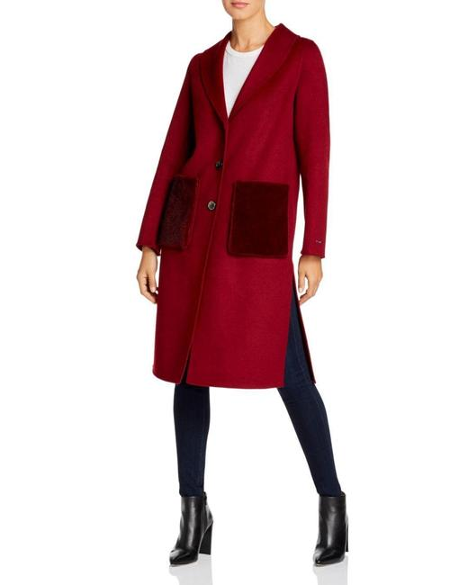 Item - Red Double Face Wool Shawl Collar Faux Mink Pocket Coat Size 6 (S)