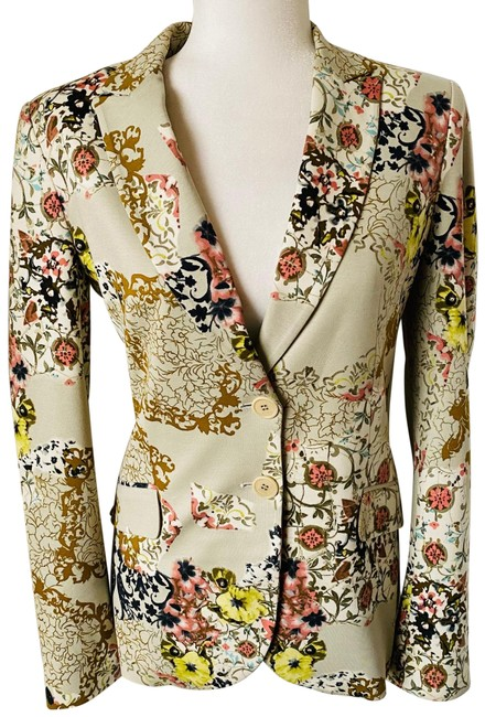 Item - Tan Beige Yellow Gold Black Floral Party Jacket Blazer Size 8 (M)