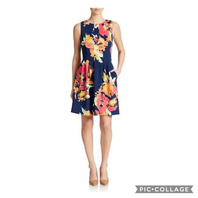 Item - Blue Floral Fit and Flare Mid-length Work/Office Dress Size 6 (S)