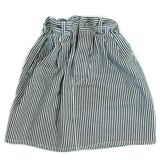 Item - Navy - White Striped Denim Flare Cinched Waist Pocket Blue Us 40 Skirt Size 2 (XS, 26)