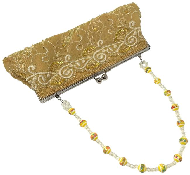 Item - Style Beaded Embroidered Purse Yellow Fabric Shoulder Bag