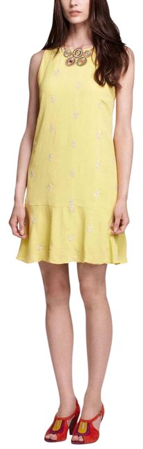 Item - Neon Chartreuse Yellow Leifsnotes Ponderosa Sequined Embellished Shift Short Cocktail Dress Size 4 (S)