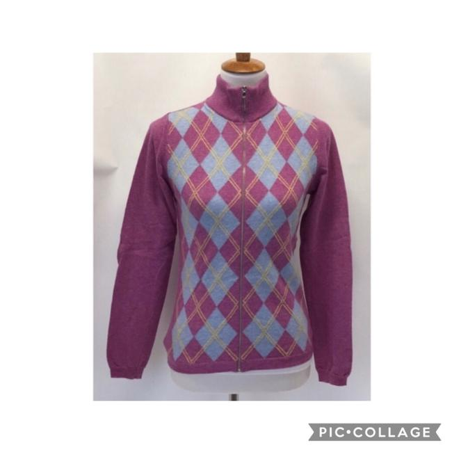 United Colors of Benetton Zip Up Wool Argyle Pink Sweater United Colors of Benetton Zip Up Wool Argyle Pink Sweater Image 1