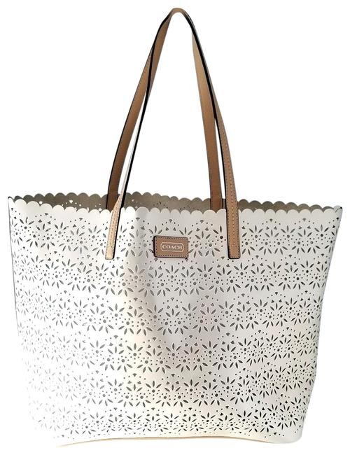 Item - Eyelet Pearl White Patent Leather Tote