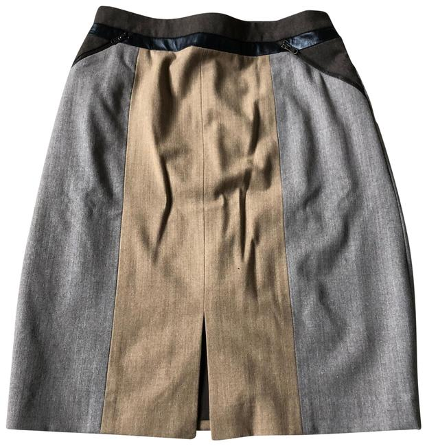 Item - Tan Brown Black and Stone Brown Wool & Leather Skirt Size 10 (M, 31)