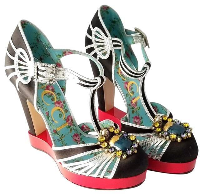 Item - Multicolor T Strap Crystal and Pearl Extended Platform Pumps Size EU 37 (Approx. US 7) Regular (M, B)