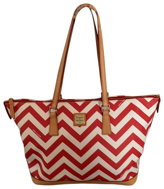 Item - Chevron And Red White Leather Tote