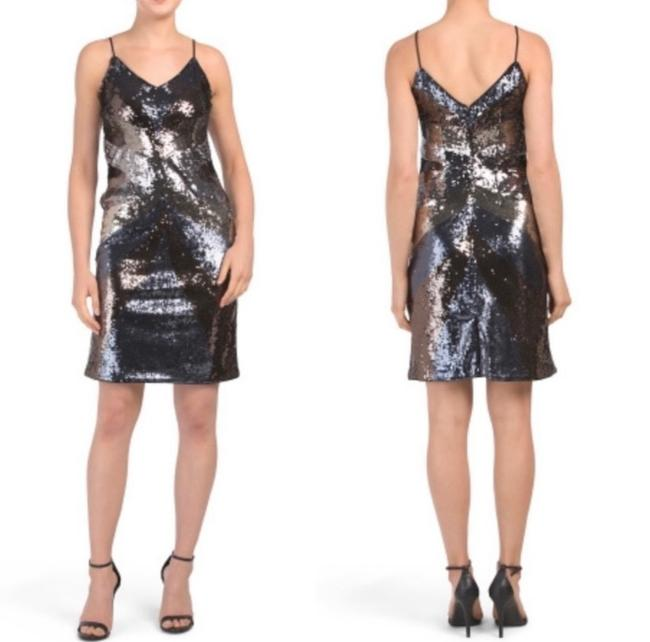 Item - Gunmetal Gold Bronze Navy Sequin Slip Cocktail Dress Size 10 (M)