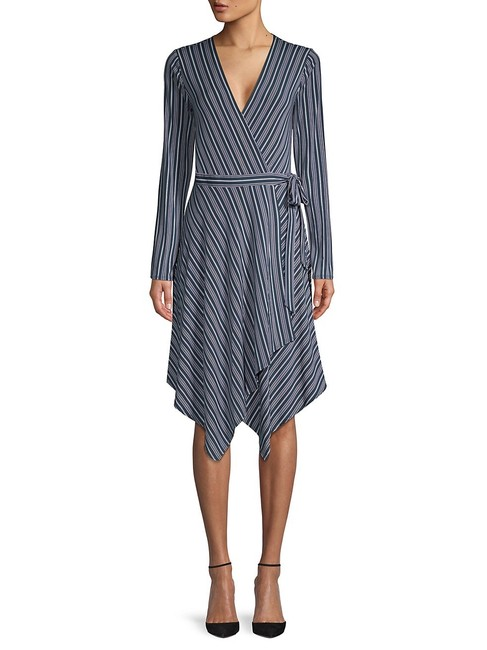 Item - Blue Striped Wrap Mid-length Short Casual Dress Size 4 (S)