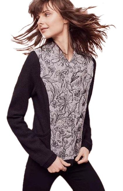Item - Black and Gray Knitted & Knotted Burke Embellished Bomber Jacket Size 8 (M)