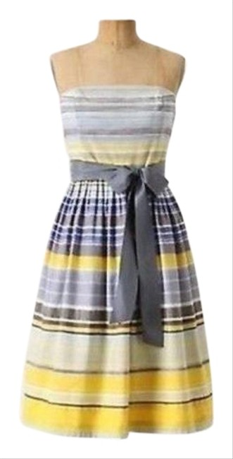 Item - Blue Yellow & Brown Stripes Maeve Paraiso Mid-length Night Out Dress Size 2 (XS)