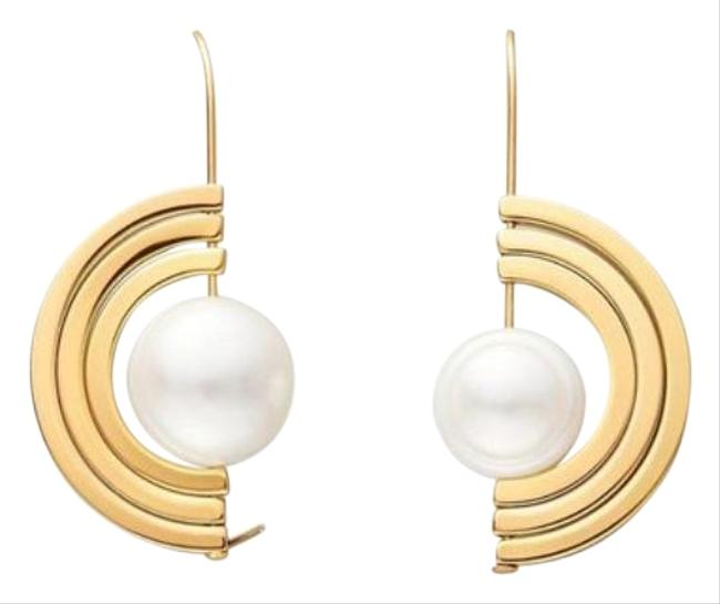 Tory Burch Gold Cream Spinning Pearl Earrings Tory Burch Gold Cream Spinning Pearl Earrings Image 1