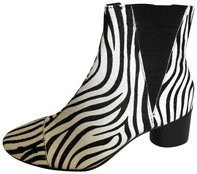 Item - Black White Zebra Luxurious Boots/Booties Size US 9.5 Regular (M, B)