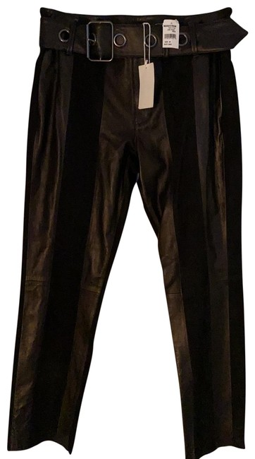 Item - Black Paneled Suede and Leather Pants Size 8 (M, 29, 30)