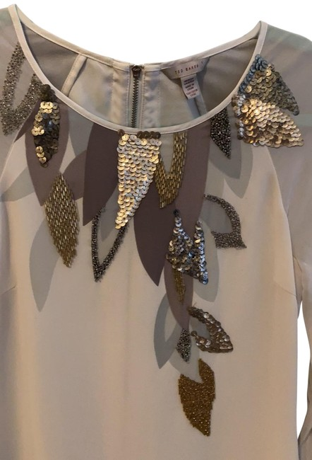 Item - Cream with Silver Gold Plum and Grey (Beading Sequins and Accents) Short Casual Dress Size 2 (XS)