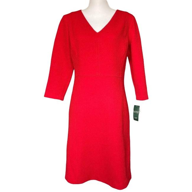 Item - Red Basketweave Textured Mid-length Work/Office Dress Size Petite 12 (L)
