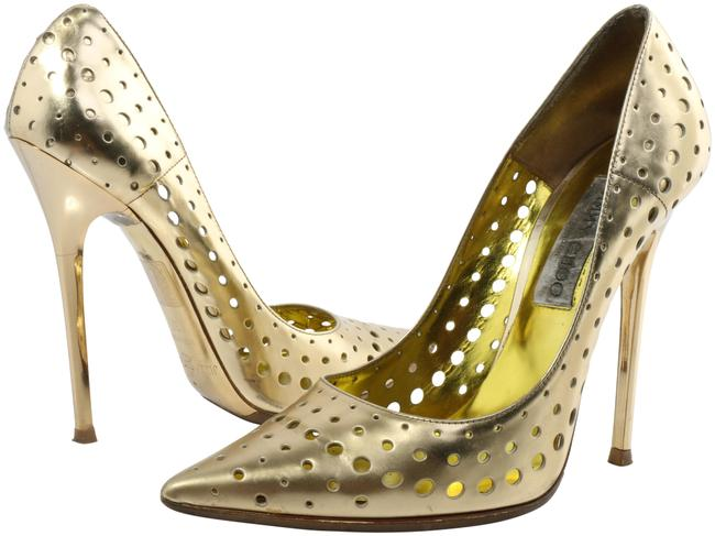 Item - Gold Mime Perforated Mirrored Leather Pumps Size EU 37 (Approx. US 7) Narrow (Aa, N)