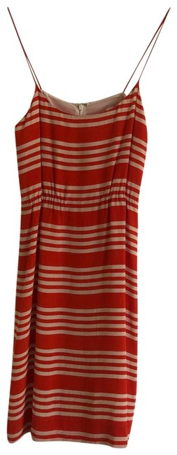 Item - Orange and Ivory Striped Silk Mid-length Casual Maxi Dress Size 2 (XS)