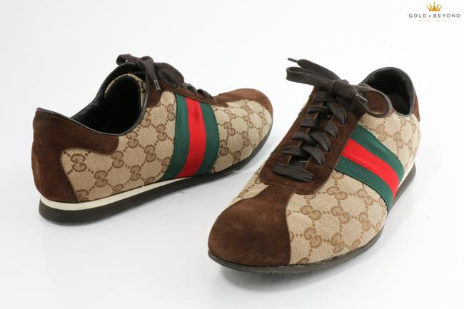 Item - Beige/Brown Beige/Brown Gg Canvas and Suede Ace Vintage Web Lace Up Sneakers Shoes