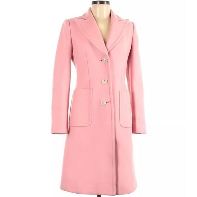 Item - Pink Long Wool with Floral Lining Coat Size 8 (M)