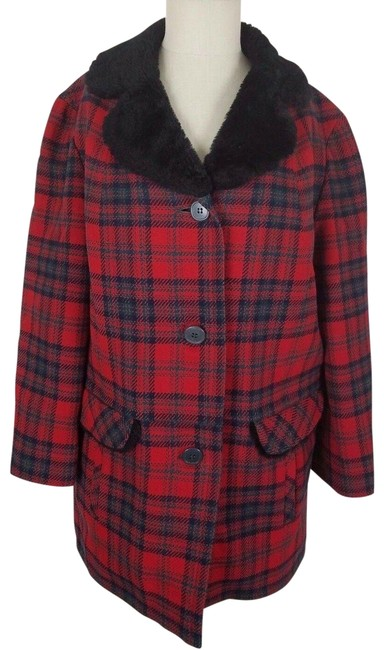 Pendleton Red & Black Vintage '49ers Quilted Insulated Wool Plaid Mouton Fur Coat Size 16 (XL, Plus 0x) Pendleton Red & Black Vintage '49ers Quilted Insulated Wool Plaid Mouton Fur Coat Size 16 (XL, Plus 0x) Image 1
