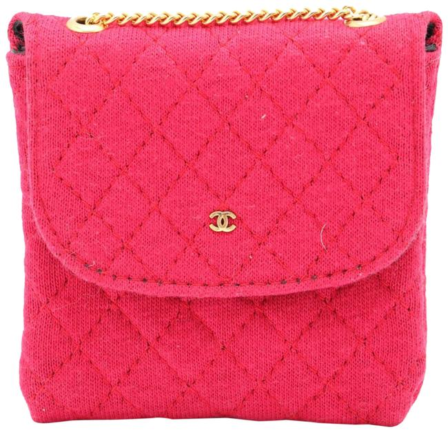 Item - Classic Chain Quilted Nano Flap Mini Micro 86123 Red Gold Cotton Shoulder Bag