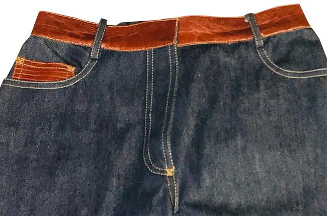 Item - Denim Blue Dark Rinse Limited Edition Leather Mixed Media Collection Capri/Cropped Jeans Size 4 (S, 27)