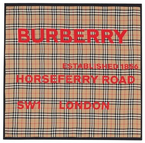 Item - Camel and Red Horseferry Print Vintage Check Silk Scarf/Wrap