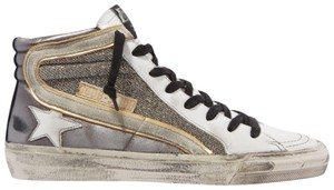 Item - Gray Slide Distressed Suede-trimmed Leather and Lurex High-top Sneakers