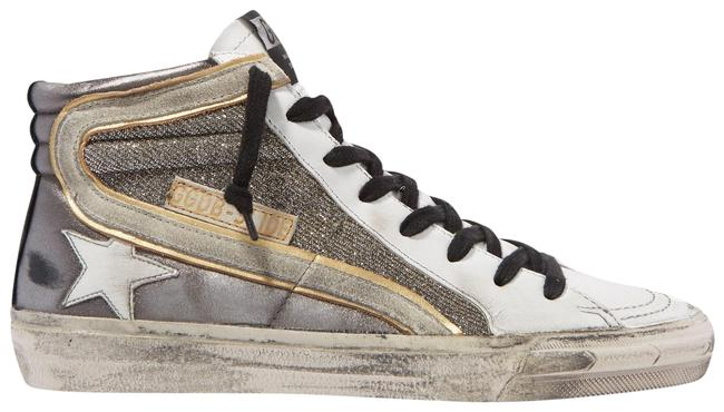 Item - Gray Slide Distressed Suede-trimmed Leather and Lurex High-top Sneakers Size EU 37 (Approx. US 7) Regular (M, B)